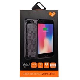 Capa bateria carbon wireless iPhone 7 plus 3650 ma